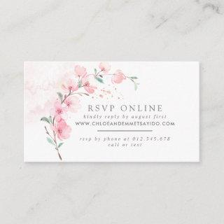 Pink Cherry Blossom Floral Wedding Website RSVP Enclosure Card