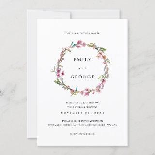 PINK CHERRY BLOSSOM FLORAL WREATH WEDDING INVITE