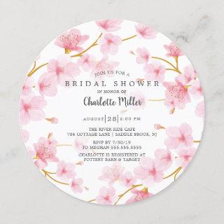 Pink Cherry Blossoms  Bridal Shower Invitation
