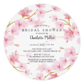 Pink Cherry Blossoms  Bridal Shower Invitations