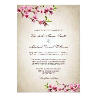 Pink Cherry Blossoms Vintage Tan Wedding Invitations