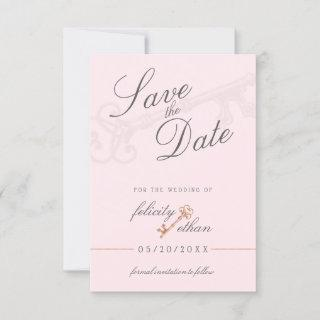 Pink Chic Vintage Key Wedding Save The Date