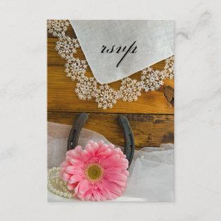 Pink Daisy Lace Country Western Wedding RSVP Card