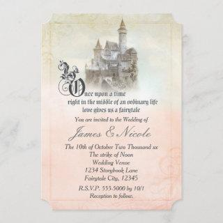 Pink Dreamy Fairy Tale Storybook Castle Wedding Invitations