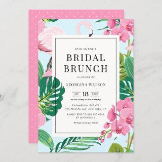 Pink Flamingo and Orchids Tropical Bridal Brunch