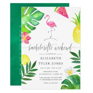 Pink Flamingo Tropical Exotic Bachelorette Weekend Invitation