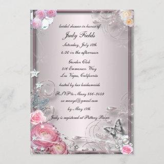 Pink Floral And Butterfly Bridal Shower Invitation