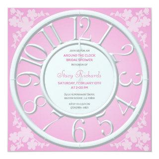 Pink Floral Around the Clock Bridal Shower Invite