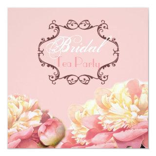 Pink Floral Bridal Shower Tea Party Invitations