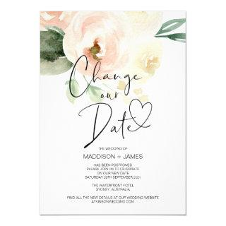 Pink Floral Change the Date Wedding Postponed Invitations