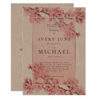 Pink floral cherry blossom spring wedding invitation