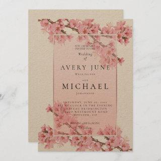 Pink floral cherry blossom spring wedding Invitations