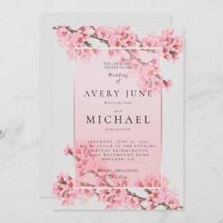 Pink floral cherry blossom wedding invitation