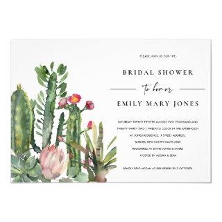 PINK FLORAL DESERT CACTI FOLIAGE BRIDAL SHOWER Invitations
