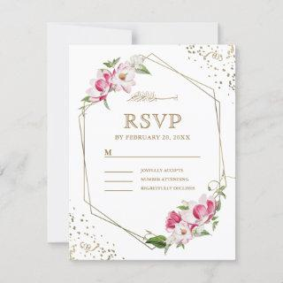 Pink Floral Geometric Gold Frame Islamic Wedding RSVP Card