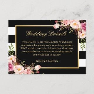 Pink Floral Gold Black Stripes Wedding Details Enclosure Card