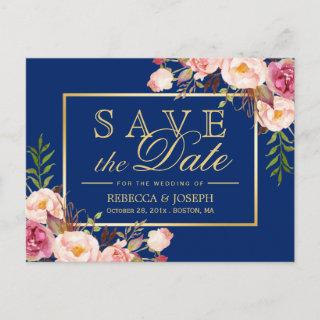 Pink Floral Gold Royal Navy Blue - Save the Date Announcement Postcard