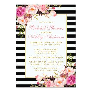 Pink Floral Gold Striped Bridal Shower Invite P