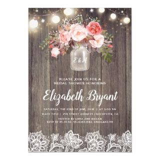 Pink Floral Mason Jar Rustic Lace Bridal Shower Invitations