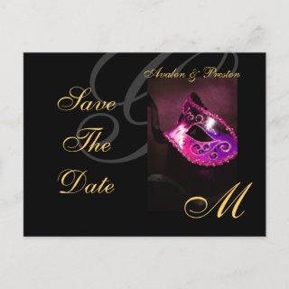 Pink Floral Masquerde Save The Date Postcard