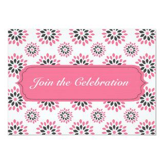 Pink Floral Pattern Invitations Card Any Occasion