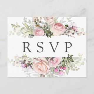 Pink Floral RSVP Postcard with Meal Choice