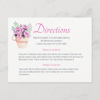 Pink Floral Wedding Directions Watercolor Flower Enclosure Card