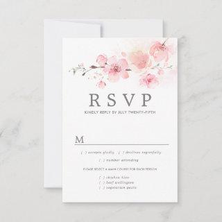 Pink Floral Wedding RSVP Card, Meal Options