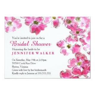 Pink Flower Blossoms Bridal Wedding Shower Party Invitation