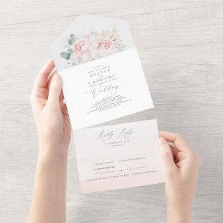Pink Flowers and Gold Greenery Elegant Wedding All In One Invitations