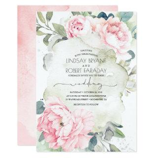 Pink Flowers and Greenery Elegant Vintage Wedding Invitations