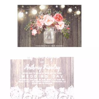 Pink Flowers Mason Jar Rustic Lace Wedding Invitations