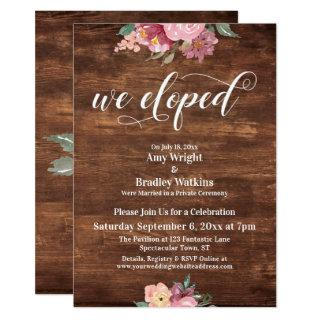 Pink Flowers Rustic We Eloped Reception-Only Invitations