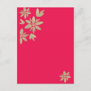 Pink fuchsia Invitations with gold sparkle flowers