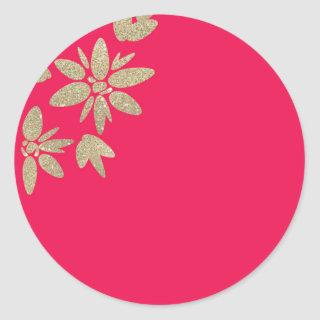 Pink fuchsia Invitations with gold sparkle flowers classic round sticker