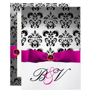 PINK FUCHSIA RIBBON SILVER BLACK  DAMASK MONOGRAM INVITATION