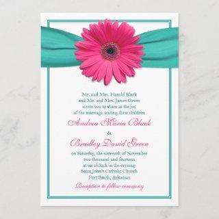 Pink Gerbera Daisy Turquoise Ribbon Wedding Invitations