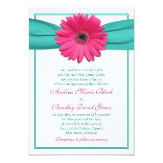 Pink Gerbera Daisy Turquoise Ribbon Wedding Invitation