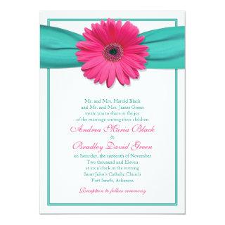 Pink Gerbera Daisy Turquoise Wedding Invitations
