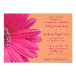 Pink Gerbera Daisy with Orange Wedding Invitations
