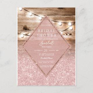 Pink Glitter Hanging Lights Wood Bridal Shower Invitations Postcard