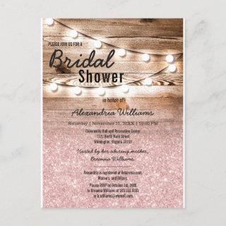 Pink Glitter Hanging Lights Wood Bridal Shower Invitation Postcard
