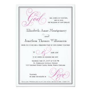 Pink God is Love Christian Wedding Invitation