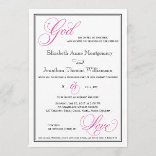 Pink God is Love Christian Wedding Invitations
