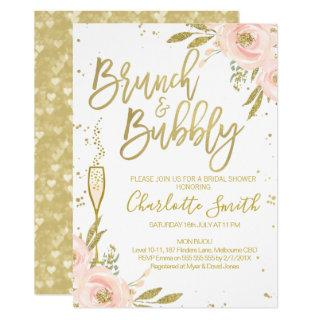 Pink Gold Floral Brunch Bridal Shower Invitation