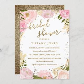 Pink Gold Floral Rose Watercolor Bridal Shower Invitations