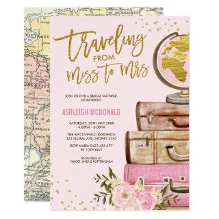 Pink & Gold Floral Travel Bridal Shower Invitations