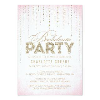 Pink & Gold Glitter Look Bachelorette Party Invitation