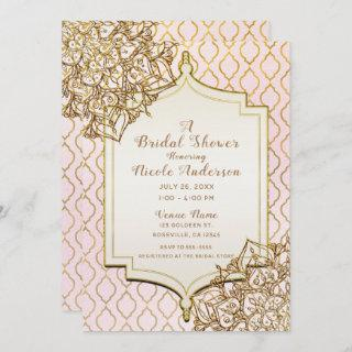 Pink & Gold Moroccan Arabian Nights Bridal Shower Invitations
