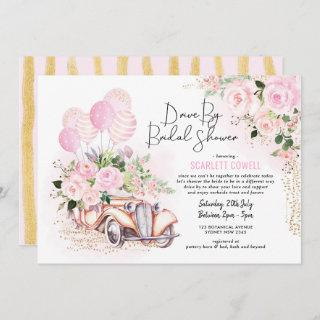 Pink Gold Roses Retro Car Drive By Bridal Shower Invitations